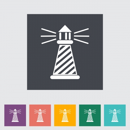 hope symbol of light: Lighthouse. Single flat icon illustration.