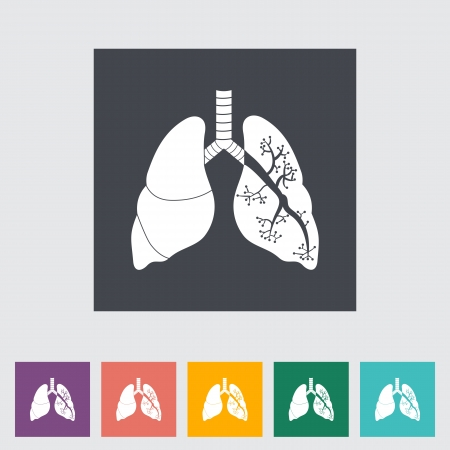 Lungs in Black and White. Single flat icon illustration. Stock Vector - 21114823