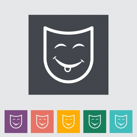 Theatrical mask. Single flat icon illustration. Vector