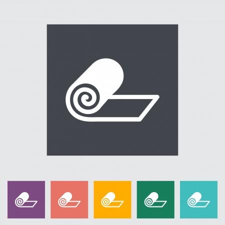 yoga mat: Mat for fitness flat icon illustration.