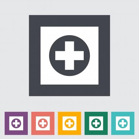 Hospital. Single flat icon illustration. Stock Vector - 21114829