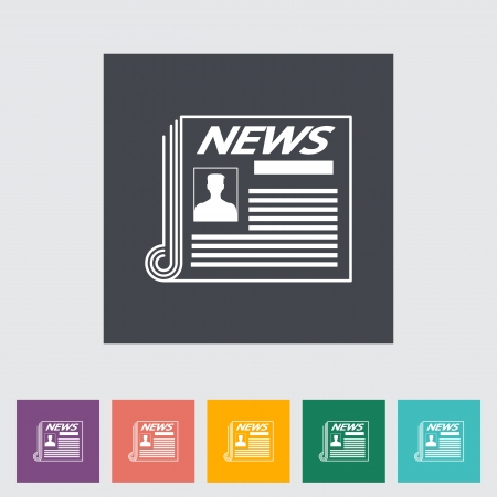 Newspaper flat icon illustration. Stock Vector - 21114842