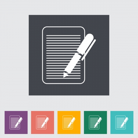 Document single flat icon illustration. Stock Vector - 21114856