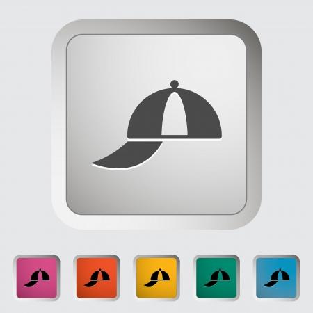 Peaked cap. Single icon illustration. Vector
