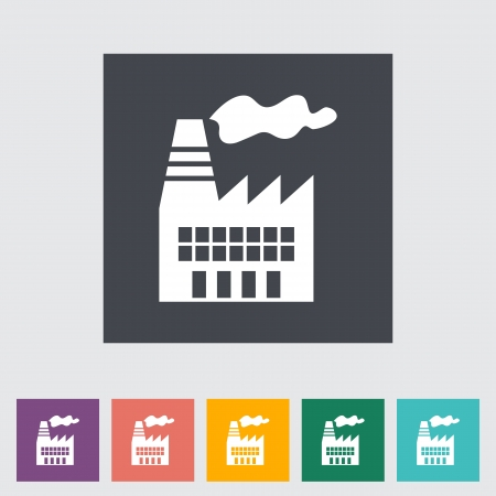 Factory. Single flat icon.  Vector