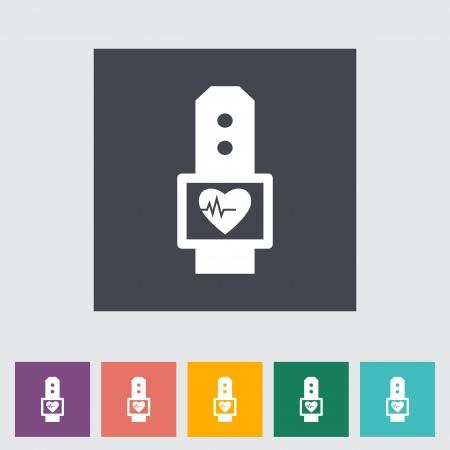 blood pressure monitor: Gasometer flat icon.  Illustration