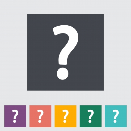 Question mark single flat icon.  Vector