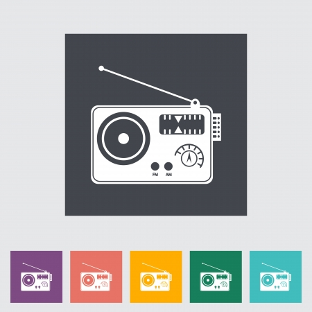 Radio single flat icon.  Vector