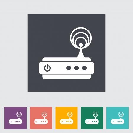 wlan: Router single flat icon illustration. Illustration