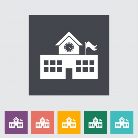 School building. Single flat icon illustration. Vector
