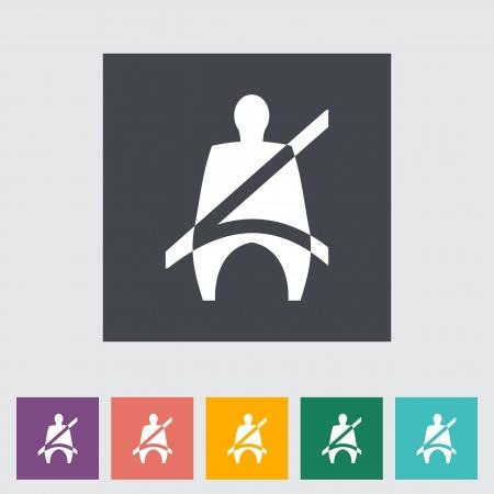 airbag: Seat belt. Single flat icon illustration. Illustration