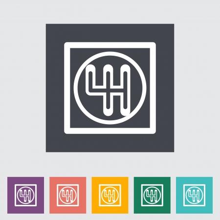 gearshift: Gear single flat icon illustration.