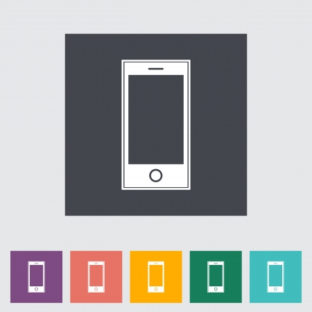 Smartphone single flat icon illustration. Vector