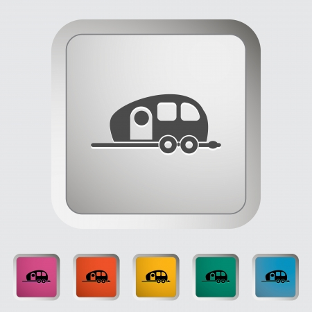 Trailer. Single icon illustration. Vector