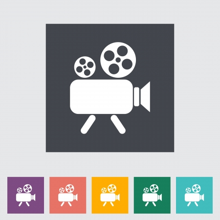 Video camera. Single flat icon illustration. Vector