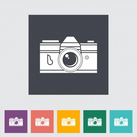 rangefinder: Icon vintage camera. Vector illustration.