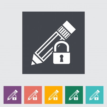 Lock for editing single flat icon. Vector illustration. Vector