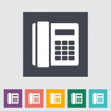 digitized: Icono de tel�fono plana �nica. Ilustraci�n del vector.