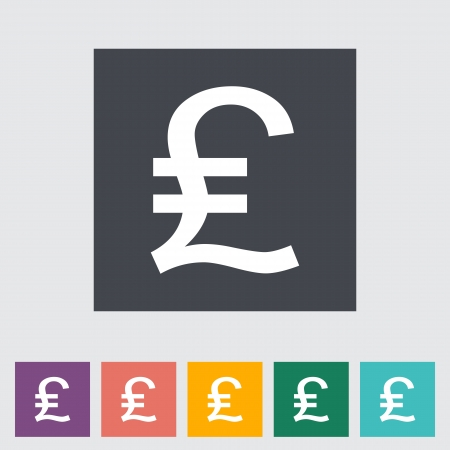 sterling: Pound sterling flat icon. Vector illustration.
