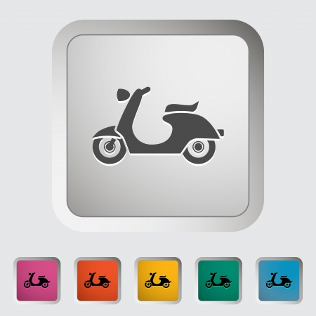 vespa: Scooter. Single icon. Vector illustration.