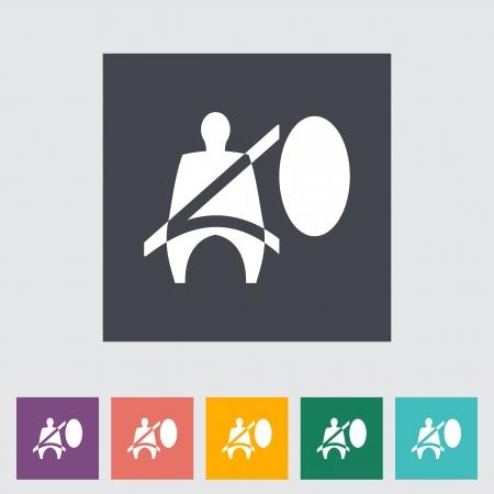 airbag: Seat belt. Single flat icon. Vector illustration.