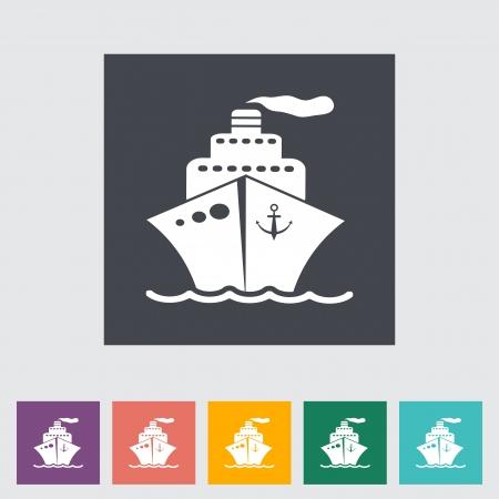 Ship flat icon. Vector illustration EPS.