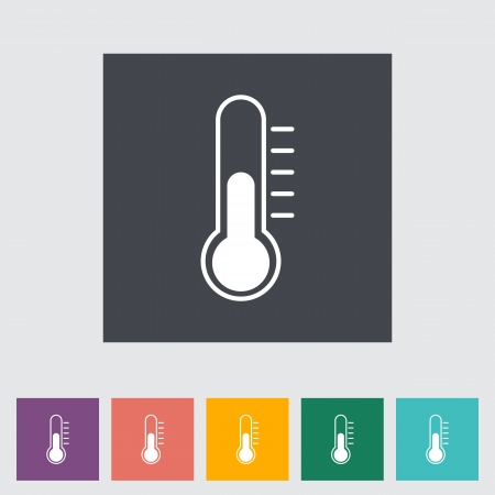 warm up: Thermometer flat icon. Vector illustration.