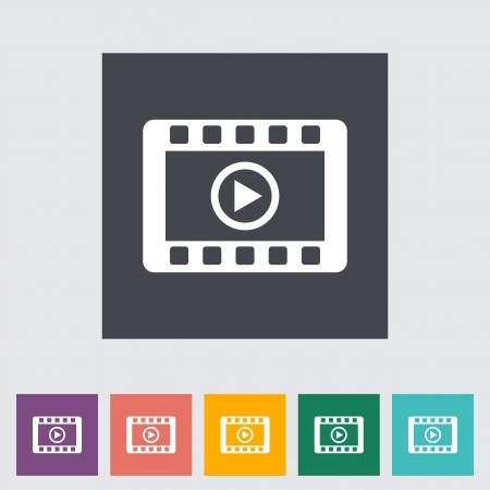 windows media video: Icono plana Video. Ilustraci�n del vector.