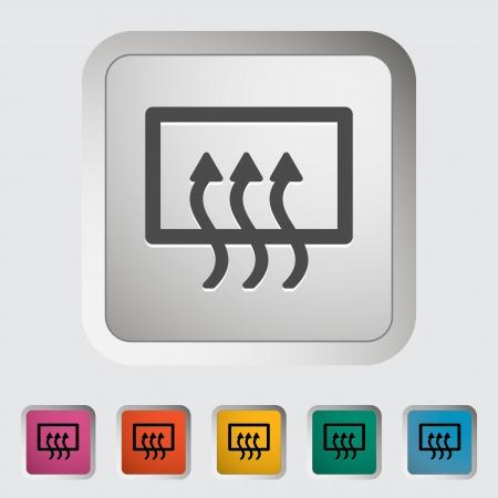 recirculate: Rear window defrost. Single icon. Vector illustration..