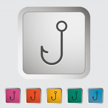 fishhook: Fishhook. Single icon. Vector illustration..