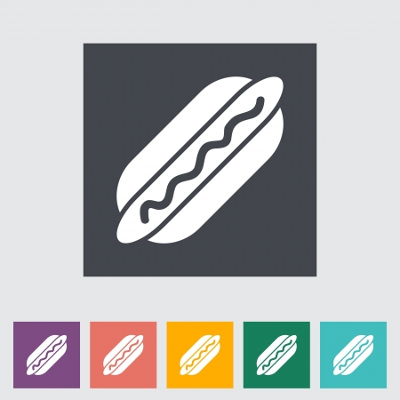 Hot dog. Single flat icon. Vector illustration. illustration
