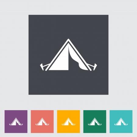 yellow adventure: Tourist tent. Single icon. Vector illustration.