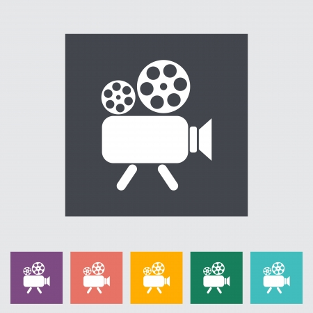 Videocamera. Single flat icon. Vector illustration. illustration