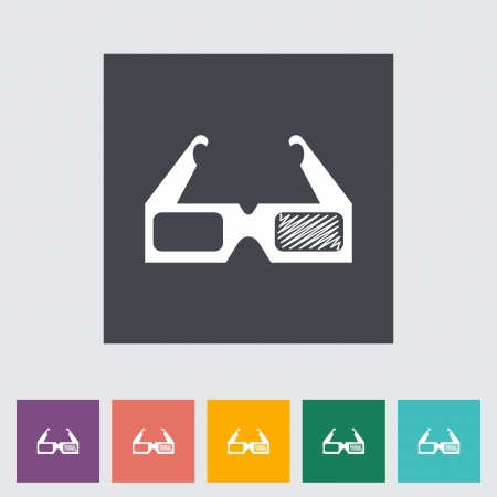 3D glasses single flat icon. Vector illustration. Stock Vector - 21297991