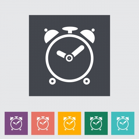 Alarm clock. Single flat icon. Vector illustration.. Stock Vector - 21297988