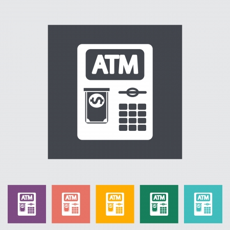 ATM. Single flat icon. Vector illustration. Vector