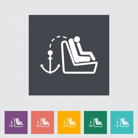 Lower anchors and tethers for children. Single flat icon. Vector illustration. Stock Vector - 21297975