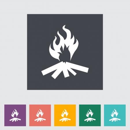 Bonfire. Single flat icon. Vector illustration.