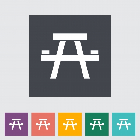 seated: Camping table. Single flat icon. Vector illustration.