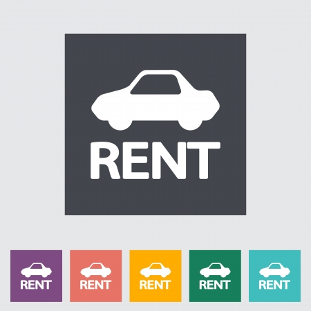 Car for rent. Single flat icon. Vector illustration. Stock Vector - 21297984