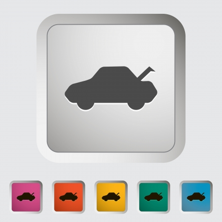 rear wheel: Tailgate. Single icon. Vector illustration.