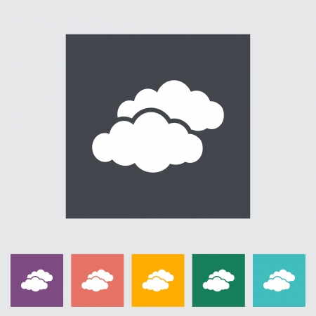 overcast: Overcast single flat icon. Vector illustration.