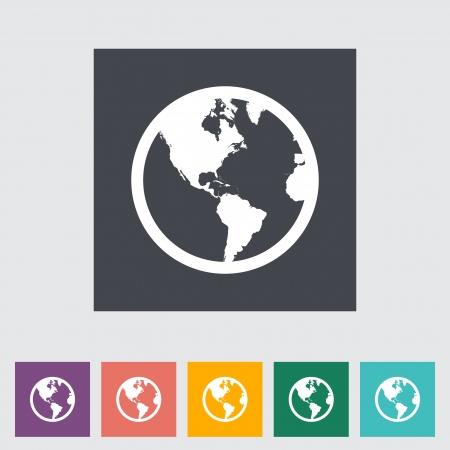 Earth flat icon. Vector illustration.