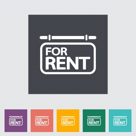 For rent. Single flat icon. Vector illustration. 向量圖像