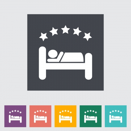 Hotel single flat icon. Vector illustration. Stock Vector - 21298041