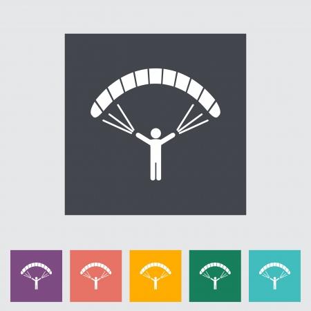 gliding: Paraglider. Single flat icon. Vector illustration.