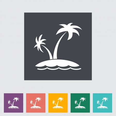 Palm tree. Single flat icon. Vector illustration.