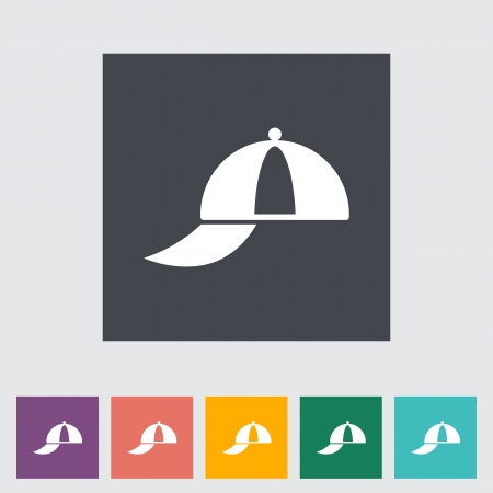 Peaked cap. Single flat icon. Vector illustration. Vector