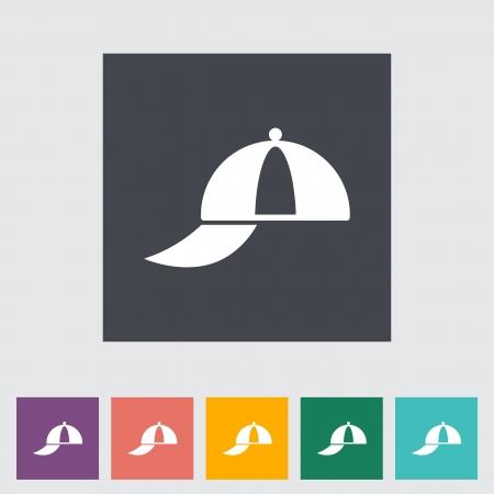 peaked cap: Peaked cap. Single flat icon. Vector illustration.