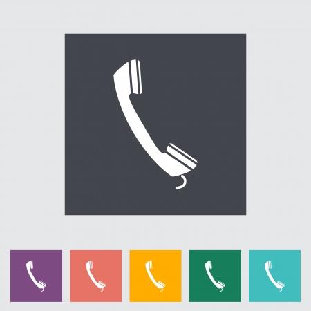 Phone single flat icon. Vector illustration. Stock Vector - 21298169